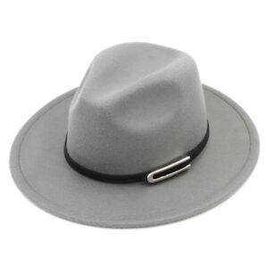 Unisex Stiff Wide Brim Fedora Hats Wool Blend Panama Caps Leather ... a4f010695ac