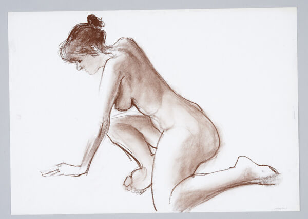 An ORIGINAL NUDE LIFE DRAWING By Stanley Swain A2 420mm x