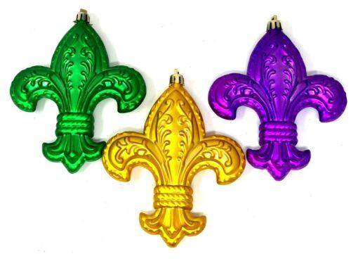 "MARDI GRAS Set of 3 Ornaments Fleur de Lis Matte Gold Green Purple 4.5/"" x 5.5/"""