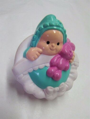BABY GIRL w// PURPLE BUNNY RABBIT for Happy Home Fisher Price Little People Rare