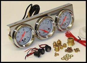 "Water Volt Triple 3 Gauge Set Gauges Kit Universal 2 5//8/"" Chrome Oil Pressure"