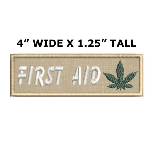 First Aid Marijuana Leaf Embroidered Patch iron-on Funny Badge Medical  Applique