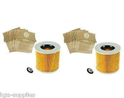 10 x Wet /& Dry IPX4 MV2 Sacchetti /& Filtro per Karcher Aspirapolvere Nuovo