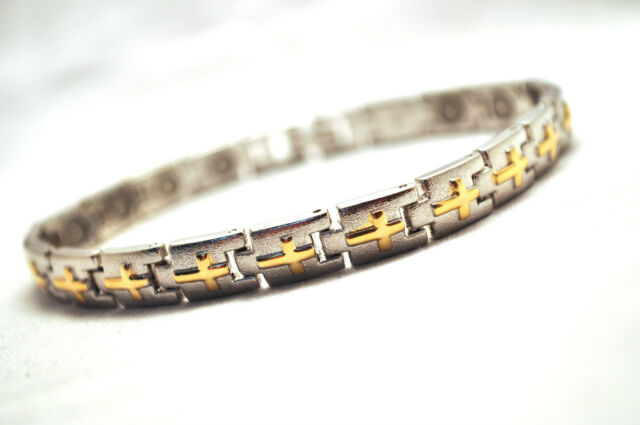 MENS 8.5 IN SILVER WITH GOLD CROSSES MAGNETIC THERAPY LINK BRACELET; Helps Pain!