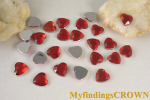 1000PCS-Red-Heart-Acrylic-Rhinestone-10mm-FLATBACK-W2347