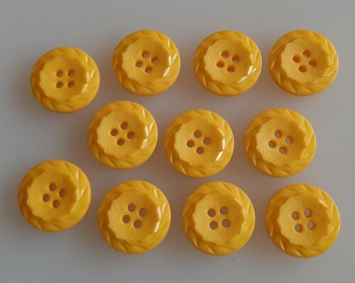 8 x 18mm Yellow Facet Border Round Plastic  Buttons H55b