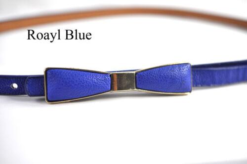 Women Fashion Faux Leather Skinny Belt Bow Shape Buckle Fits 31-36 inch Waist