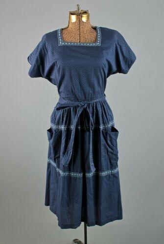 VTG Women's 50s Swirl Blue Wrap Dress Sz S 1950s C