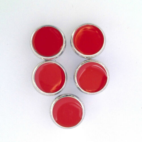 5 x dress shirt buttons red with silver trim shank on back 10mm