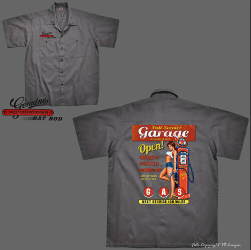 * Camicia Worker shirt Vintage Hot Rod Service Officina Auto Oldtimer Kustom 1101