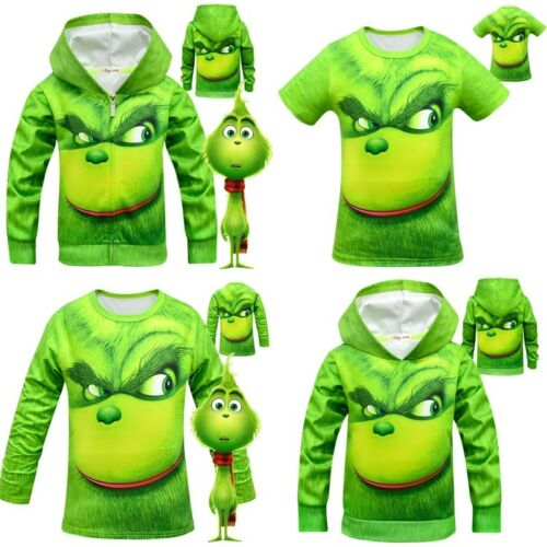 UK Kids Boys Girl The Grinch Cartoon Hoodie Sweatshirt Casual T-shirt Tops 5-12Y
