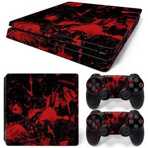 Sony Ps4 Playstation 4 Slim Skin Aufkleber Schutzfolie Set Black Blood Motiv Video Game Accessories Faceplates, Decals & Stickers