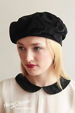 1930s 40s WW2 BERET HAT Black velvet with BOW cute S Anna Chocola Brighton