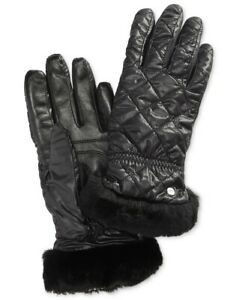 UGG-241529-Womens-Quilted-Water-Resistant-Cold-Weather-Gloves-Black-Size-S-M