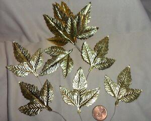 """Vintage Gold Foil Rose Leaves 2 3/8"""" x 2"""" Made in Japan 1 Dozen"""
