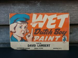 Vintage-Dutch-Boy-Wet-Paint-Store-Advertisement-Sign-circa-1940-039-s-Nice-Colors