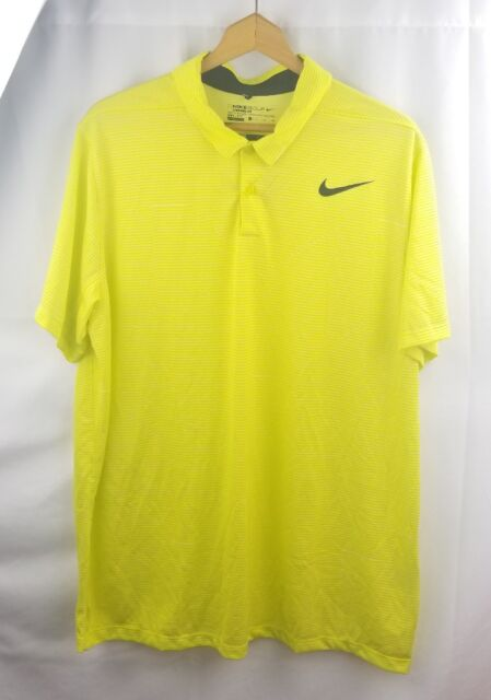 Nike Golf Standard Dri Fit Polo Shirt Lemon Yellow Black Tiger Woods Mens Xl