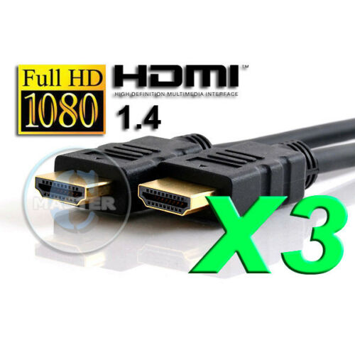 3X 6ft HD TV HIGH SPEED GOLD PLATED AV HDMI CABLE XBOX PS3 PS4 VIDEO GAME PLAYER