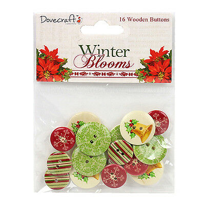 16 WOODEN WINTER BLOOMS CHRISTMAS BUTTONS CARD MAKING CRAFT EMBELLISHMENTS