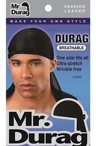 brand new mr durag 4300 black ultra stretch durag one size wrinkle