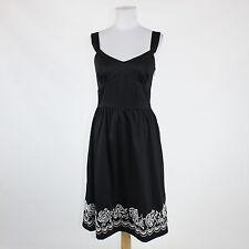 Black white embroidered cotton ANN TAYLOR LOFT sleeveless knee-length dress 4