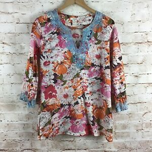 Sundance Orange Pink Floral Boho Blue Embroidered Blouse Top Size Medium