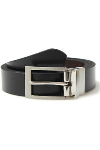 3689b01e11a0 Image is loading Moss-1851-Mens-Black-Brown-Buckle-Reversible-Bonded-