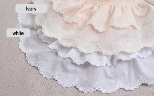 """1yds Broderie Anglaise gathered eyelet lace trim 3/"""" YH1464a laceking2013 7.5cm"""