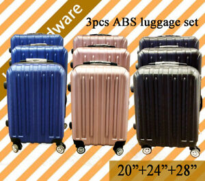 3-pcs-Lightweight-Lock-ABS-Travel-Luggage-Set-Suitcase-Hard-Case-Blue-Pink-Black