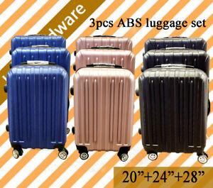 3-pcs-Lightweight-Lock-ABS-Travel-Luggage-Set-Suitcase-Hard-Case-Blue-Pink-Black