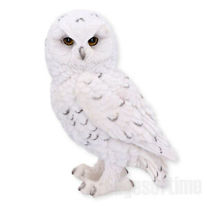 SNOWY-WATCH-OWL-REGAL-WHITE-FIGURINE-ORNAMENT-BIRD-OF-PREY-HAND-PAINTED-13CM