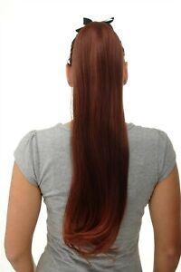 Postiche-Tresse-Queue-de-Cheval-Peigne-Bande-Long-Lisse-Braun-Rouge-Melange-65cm