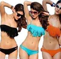 Ladies Black White Pink Orange Aqua Fringed Tassel Padded Bikini Matching Set