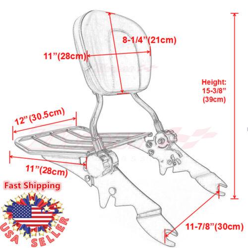 Chrome Adjustable Backrest Sissy Bar Luggage Rack For Harley Touring 2009-2018