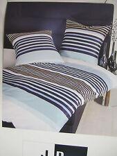 Janine Mako Satin Bettwäsche 140x200 Bettgarnitur Streifen dessin Blau Baumwolle