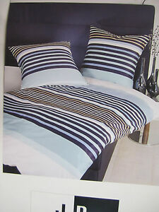 janine mako satin bettw sche 140x200 bettgarnitur streifen dessin blau baumwolle ebay. Black Bedroom Furniture Sets. Home Design Ideas