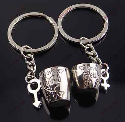 3D Love Cup Heart Pendant Key Chain Keyring Keychain Keyfob for Lovers Couple av