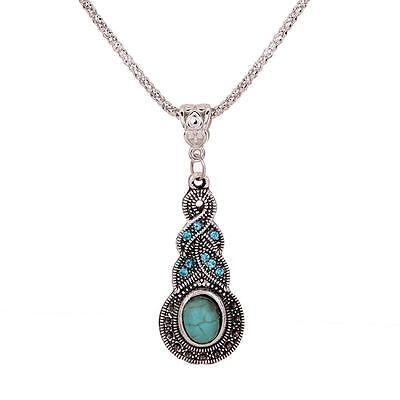 Bohemian Turquoise Crystal Tibetan Silver Pendant Choker Collar Necklace Gift