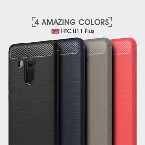 Housse-etui-coque-silicone-gel-carbone-pour-HTC-U11-U11-Plus-verre-trempe