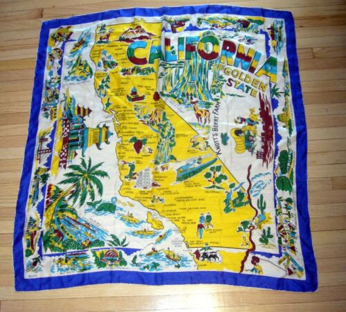 Vintage CALIFORNIA Golden State MAP SCARF Beach Kn