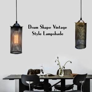 Modern-Retro-Style-Drum-Shape-Ceiling-Pendant-Light-Shade-Net-Metal-Lampshade-UK