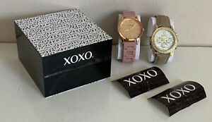 NEW-XOXO-BLUSH-PINK-SILICONE-STRAP-amp-TAUPE-BROWN-LEATHER-WATCH-SET-XO9249-SALE