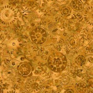Tonga-Batik-Fabric-B4885-Amber-Nutmeg-Floral-Timeless-Treasures-YARD