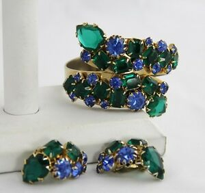 Rare vintage jewelry unsigned rhinestone clamper earrings for Vintage costume jewelry websites
