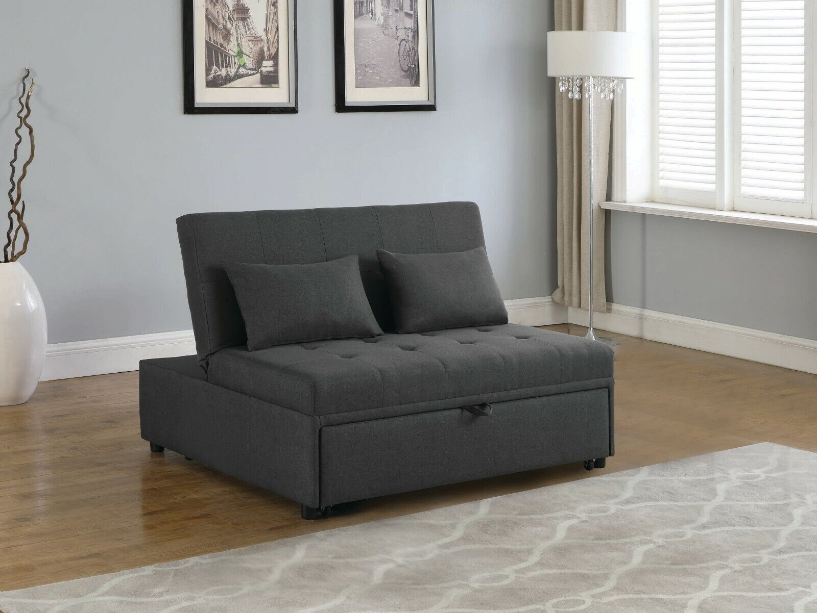 Picture of: Perfect For Dorm 2 Person Grey Linen Sleeper Sofa Bed Living Room Furniture For Sale Online