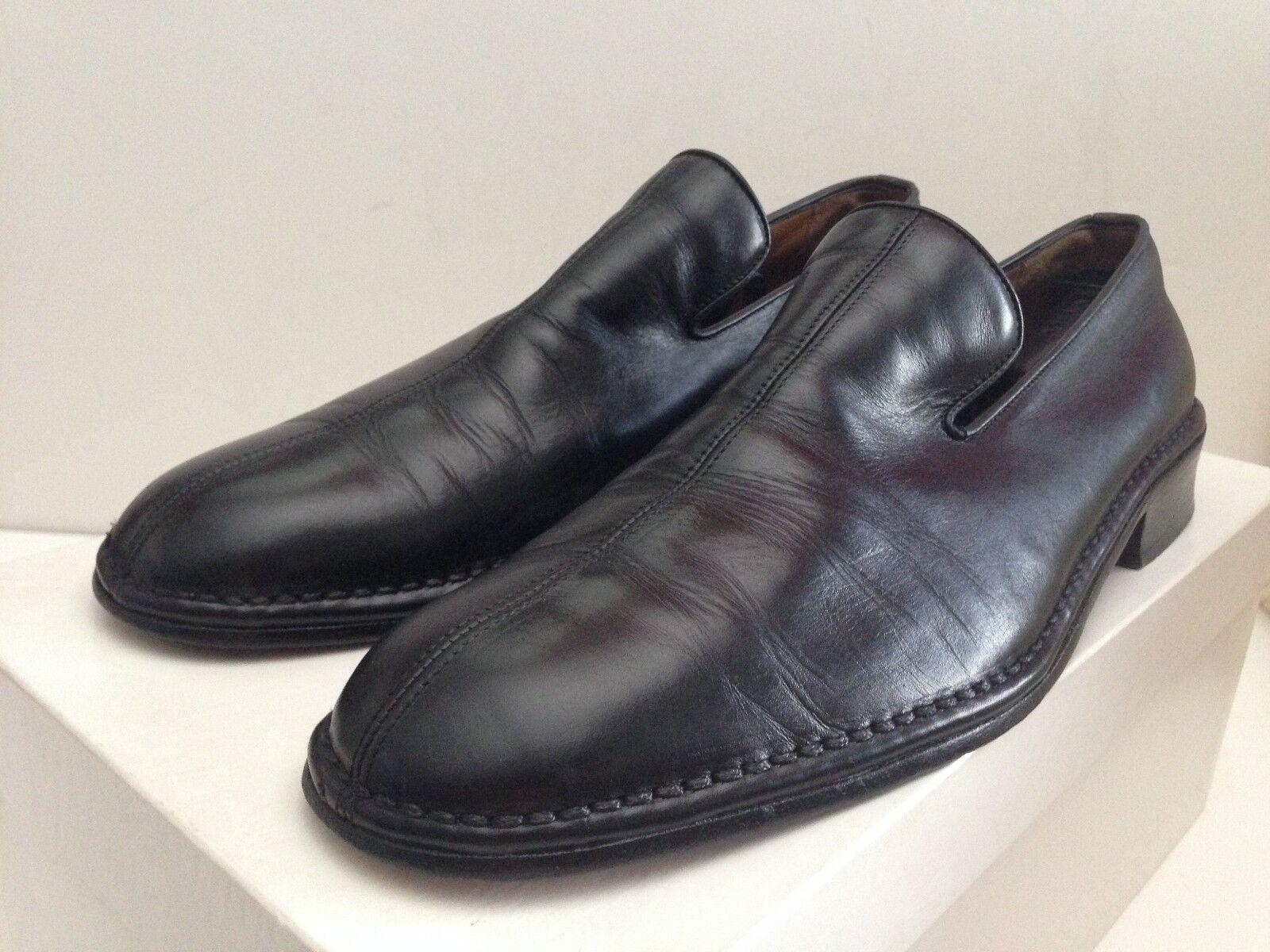 John Varvatos Para Hombre Negro antideslizante en mocasines calzado hecho a mano en Italia Talla 11.5