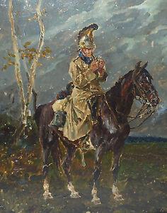 Dragoner Zu Pferd 1906 Militaria Gemalde Realismus Wilhelm Trubner