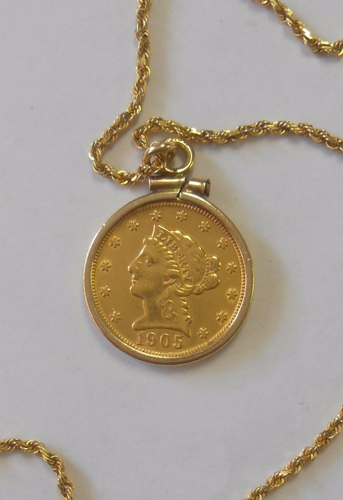 Genuine 1905 USA Liberty Head 2 1 2 Dollar gold Coin 14K Bezel on 18  Rope Chain