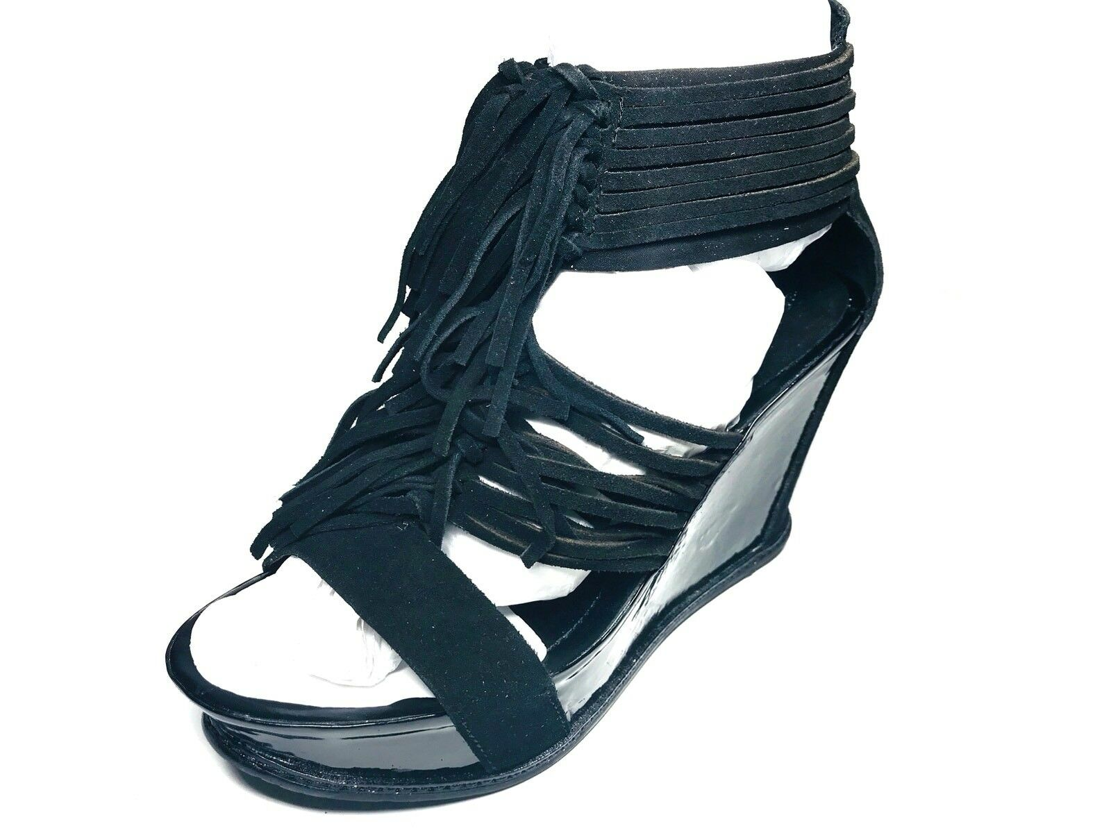 a buon mercato Kenneth Cole REACTION SUEDE Wedge HEELS Ankle Ankle Ankle Fringe Sandals Open nero Patent  migliore vendita