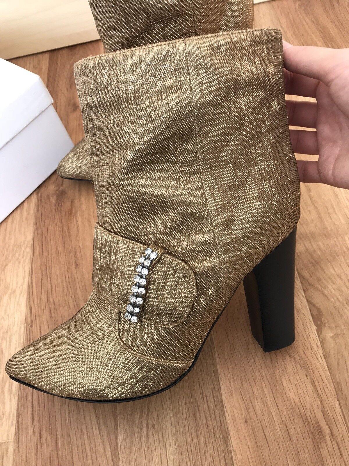 See by CHLOE    Schuhe Stiefeletten Luxus Leder Couture Gr. 38.5 38 Gold neu   d9d491